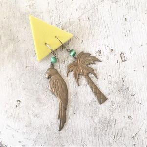 Vintage 80s Brass Tropical Palm Tree Bird Earrings